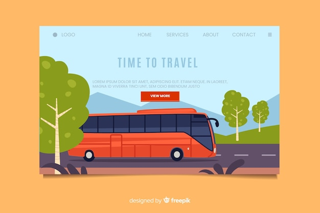 Tijd om de bestemmingspagina te reizen Gratis Vector