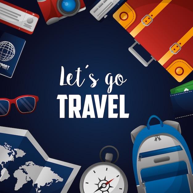 Tijd om de wereld rond te reizen Premium Vector