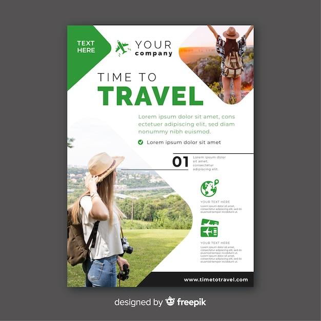 Tijd om groen sjabloon met foto te reizen Gratis Vector