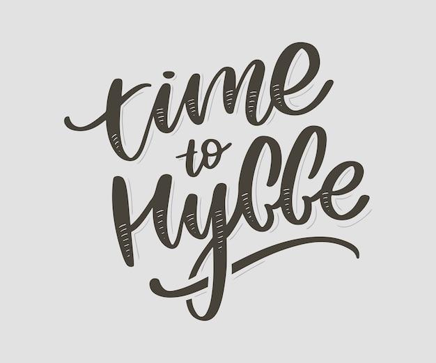 Tijd om te hyggen. inspirerend citaat. deens woord hygge betekent gezelligheid, ontspannen en comfort. zwarte letters Premium Vector