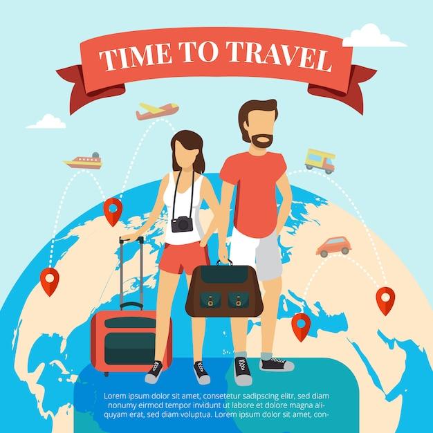Tijd om vlakke affiche met toeristenpaar te reizen die zich met bagage en wereldbol bevinden Gratis Vector