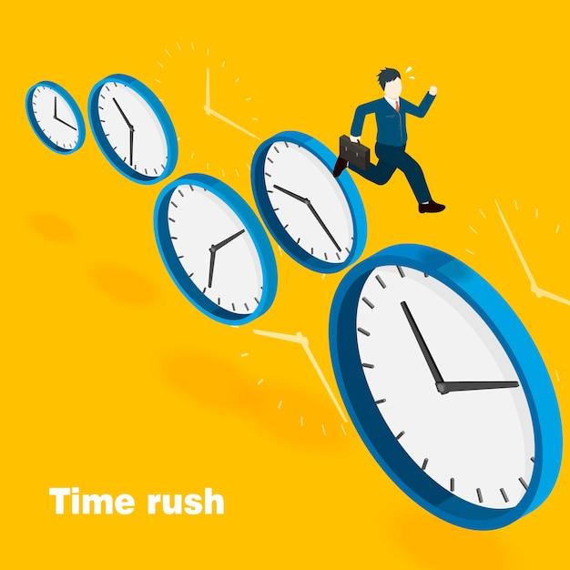 Tijd rush concept in 3d isometrische platte ontwerp Premium Vector