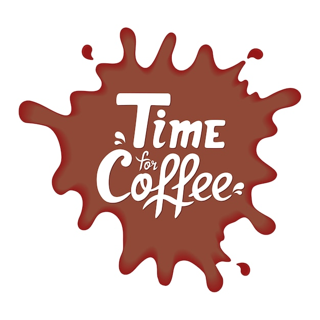 Tijd voor koffie handgetekende offerte. belettering voor café. verfvlek Premium Vector