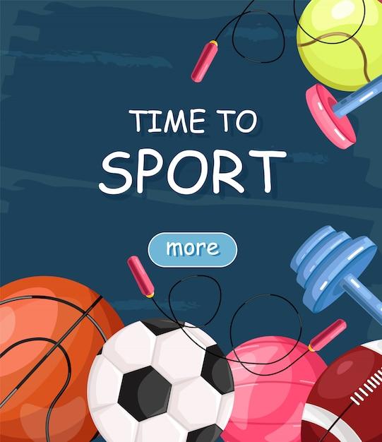 Tijd voor sportbanner Premium Vector