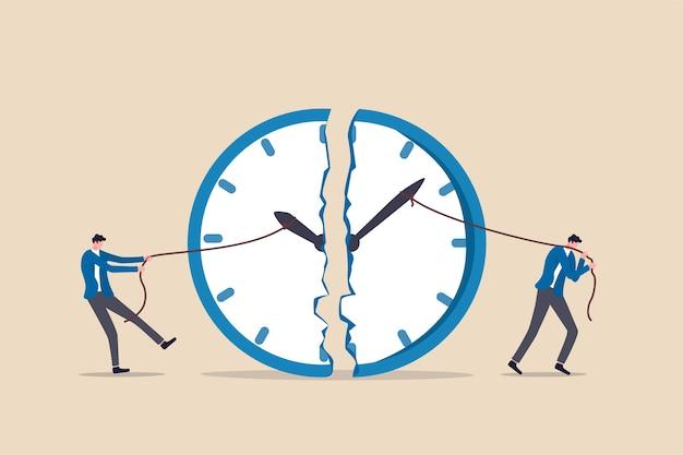Tijdbeheer, werkdeadline of planning voor werktijdconcept, zakenman die touw gebruikt om minuut- en uurwijzer te trekken om de klokmetafoor van inspanning om tijd te beheren voor meerdere projecten te doorbreken. Premium Vector