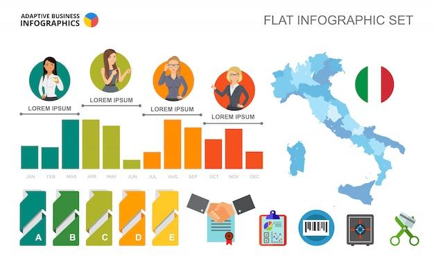Tijdlijn bar grafieken sjabloon voor presentatie Gratis Vector