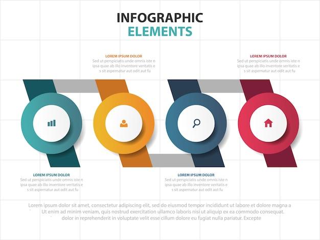 Tijdlijn business infographics sjabloon elementen Premium Vector