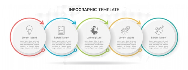 Tijdlijn cirkel infographic 5 opties Premium Vector