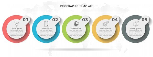 Tijdlijn cirkel infographic sjabloon 5 opties of stappen. Premium Vector