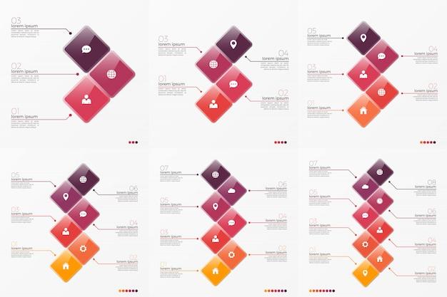 Tijdlijn grafiek infographic sjabloon met 3 en 8 opties Premium Vector