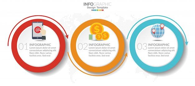 Tijdlijn grafiek infographic sjabloon met 3 stappen of opties. Premium Vector
