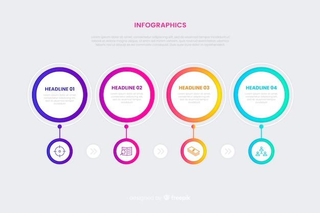 Tijdlijn infographic concept met kleurverloop effect Gratis Vector