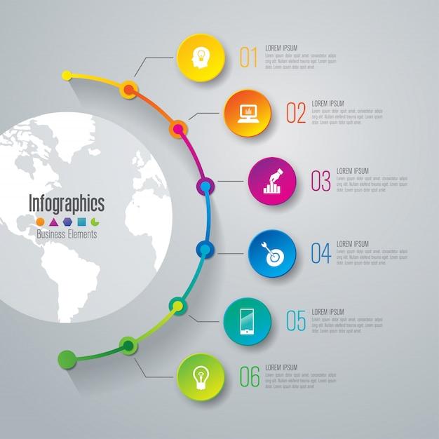 Tijdlijn infographic elementen voor de presentatie Premium Vector