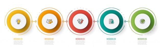 Tijdlijn infographic grafiek met marketing pictogrammen en 5 stappen, cirkels Premium Vector