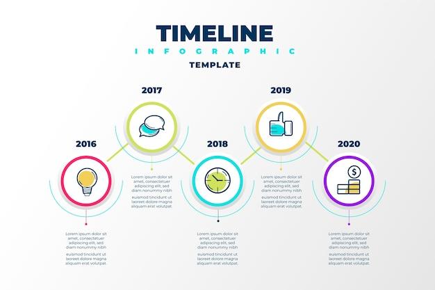 Tijdlijn infographic met jaren Premium Vector
