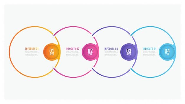 Tijdlijn infographic ontwerp dunne lijn cirkel elementen en nummeropties. bedrijfsconcept met 4 stappen. Premium Vector
