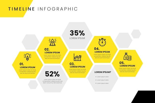 Tijdlijn infographic ontwerp Gratis Vector