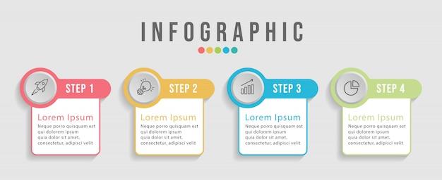 Tijdlijn infographic ontwerpsjabloon voor workflow-indeling, diagram. bedrijfsconcept met 4 opties, stappen of processen. Premium Vector