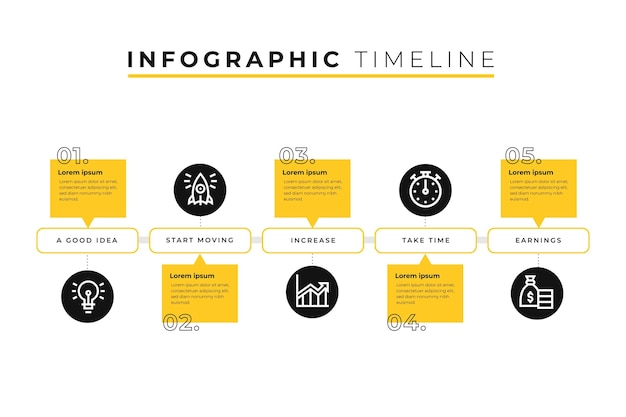 Tijdlijn infographic sjabloon met cirkels Gratis Vector