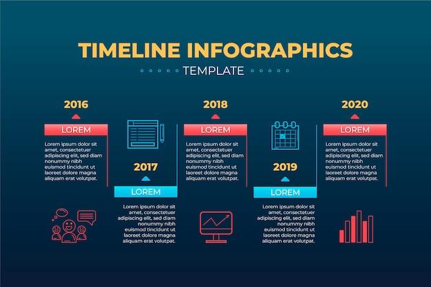 Tijdlijn infographic sjabloon met jaren Gratis Vector