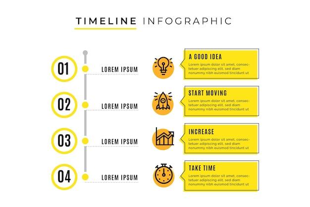 Tijdlijn infographic sjabloon met stappen Premium Vector