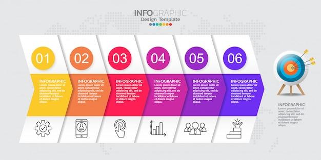 Tijdlijn infographic sjabloon met zes stappen Premium Vector