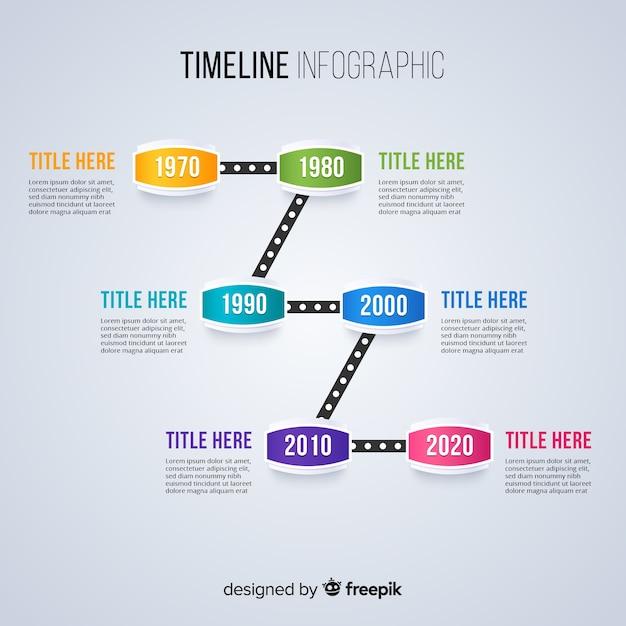 Tijdlijn infographic sjabloon plat ontwerp Gratis Vector