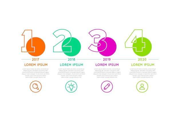 Tijdlijn infographic voor verschillende tijdsperioden Gratis Vector