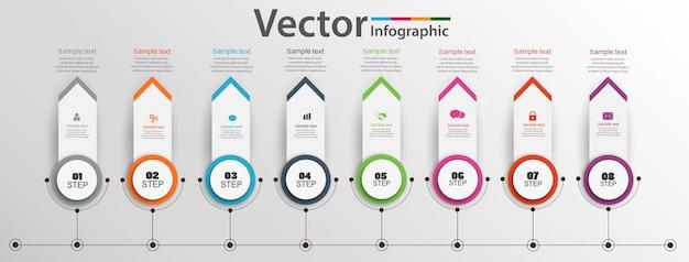 Tijdlijn infographics ontwerp met acht stappen Premium Vector