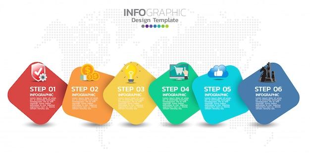 Tijdlijn infographics ontwerpsjabloon met 5 opties, processchema Premium Vector