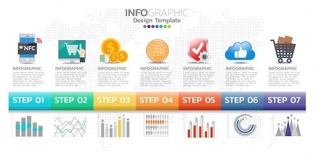 Tijdlijn infographics ontwerpsjabloon met 7 opties, processchema. Premium Vector