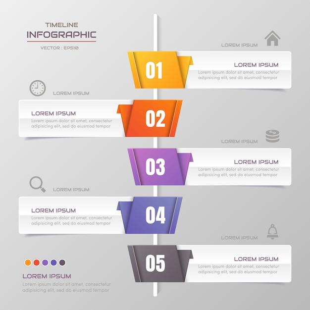 Tijdlijn infographics ontwerpsjabloon met pictogrammen Premium Vector