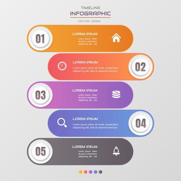 Tijdlijn infographics sjabloon met pictogrammen Premium Vector