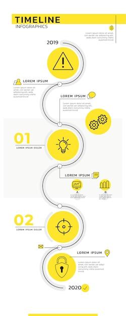 Tijdlijn infographics sjabloon Gratis Vector