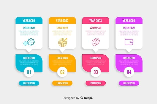 Tijdlijn met infographic grafieken collectie Gratis Vector