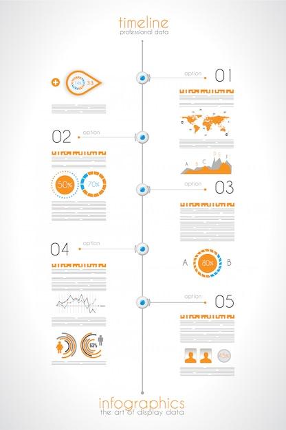 Tijdlijn om uw gegevens met infographic-elementen weer te geven Premium Vector