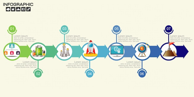 Tijdlijn pijl infographics sjabloonopties. Premium Vector