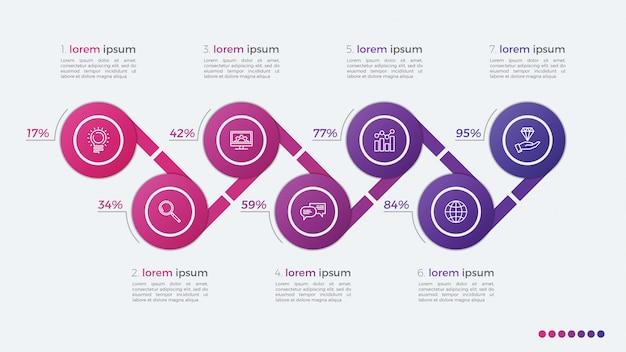 Tijdlijn vector infographic ontwerp met ellipsen 7 stappen Premium Vector