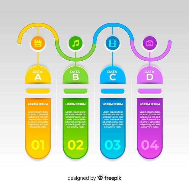 Tijdlijn zakelijke infographic sjabloon Gratis Vector