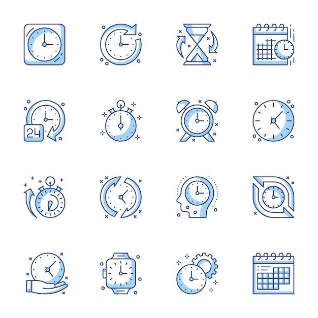 Tijdmanagement lineaire pictogrammen instellen. Premium Vector