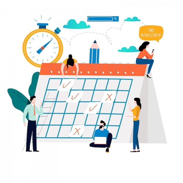 Tijdmanagement, planningsevenementen, organisatie Premium Vector