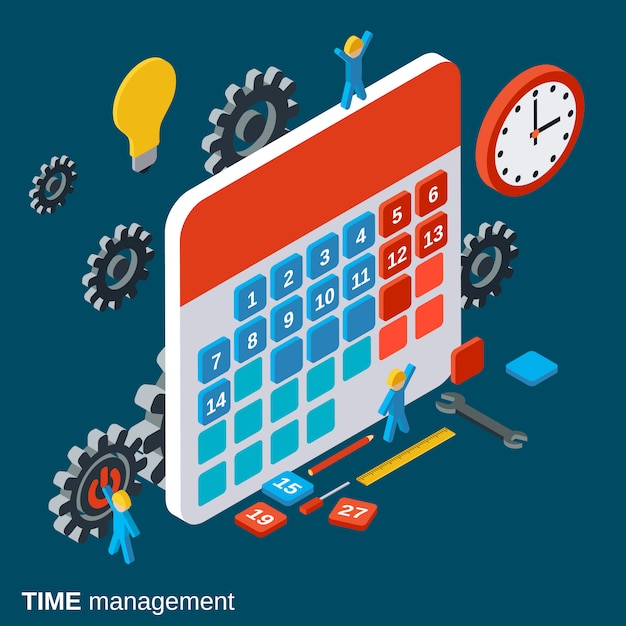 Tijdmanagement, werkplanning Premium Vector
