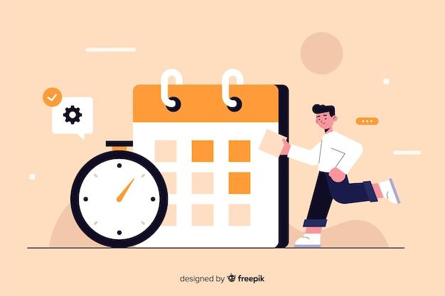 Tijdmanagementconcept voor bestemmingspagina Gratis Vector