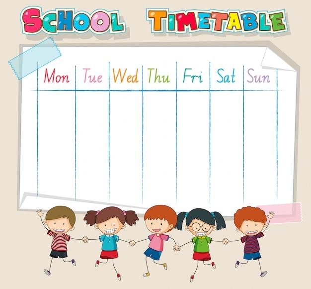 Tijdschema schoolplanning met personages Gratis Vector