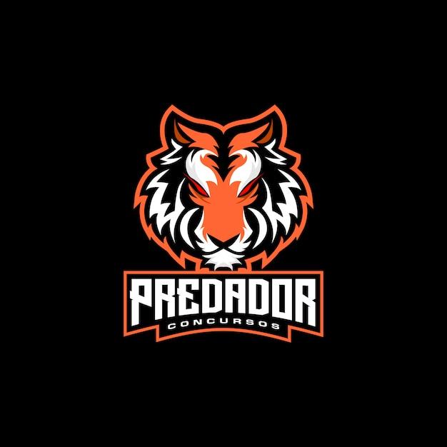 Tijger hoofd e sport logo Premium Vector