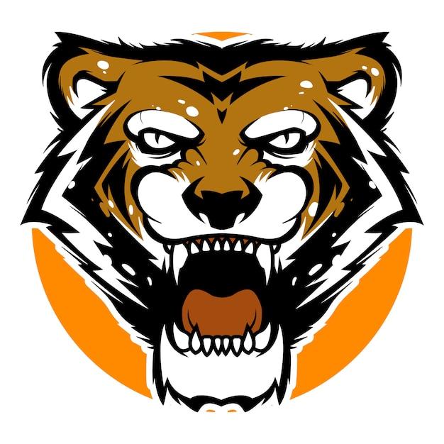Tijger hoofd mascotte sport logo sjabloon Premium Vector
