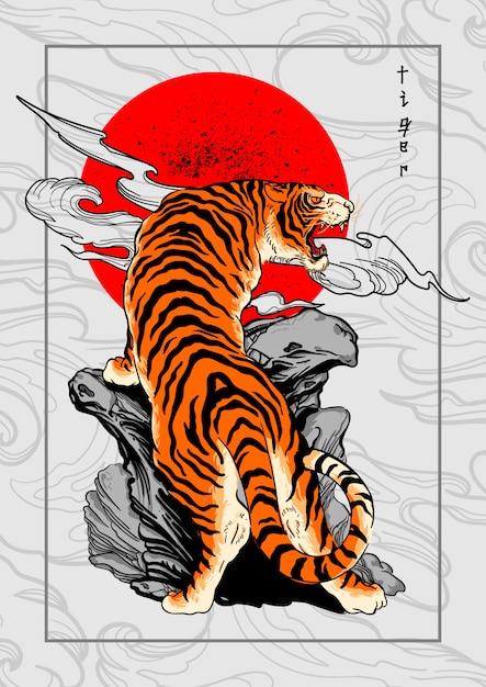 Tijger japan stijl tatoeage achtergrond Premium Vector