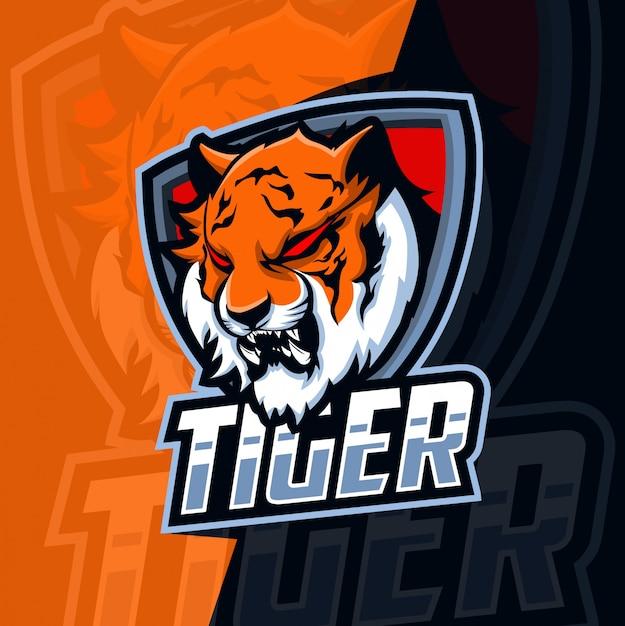 Tijger mascotte esport logo Premium Vector