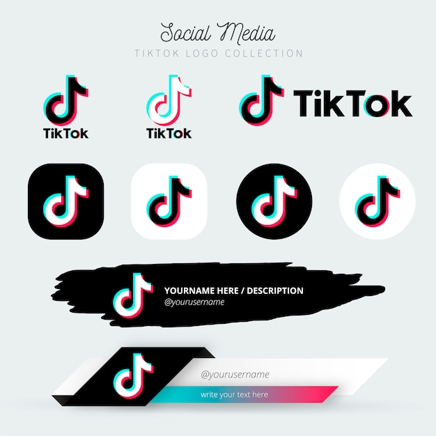 Tiktok-logo en onderste derde collectie Gratis Vector