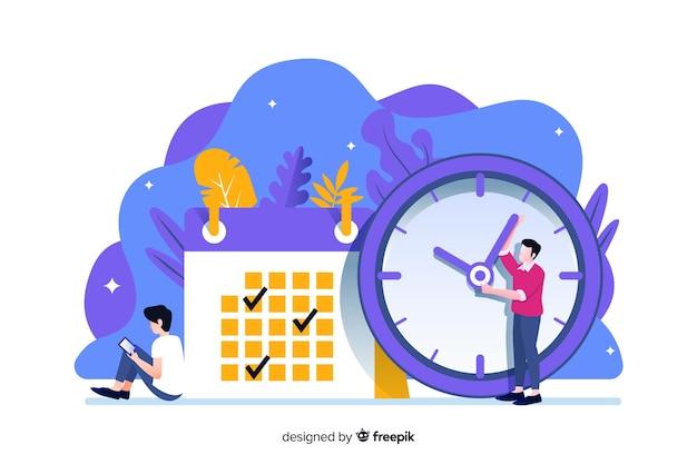 Time management concept voor bestemmingspagina Gratis Vector